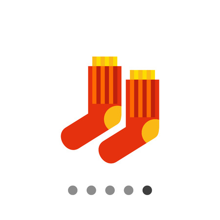 Multicolored vector icon of red striped socks with yellow heels