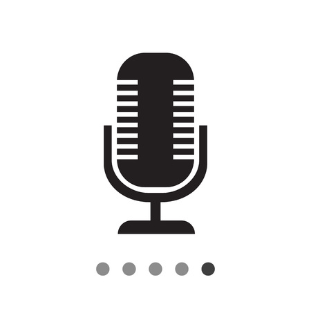 voices: Vector icon of retro microphone on stand Illustration