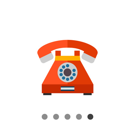 retro telephone: Multicolored vector icon of retro telephone with dialing disk