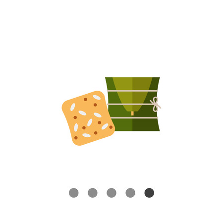 usual: Multicolored vector icon of rice on banana leaves