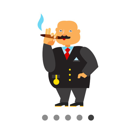 gold chain: Rich person icon. Multicolored vector illustration of fat male character with gold chain watch smoking cigar Illustration
