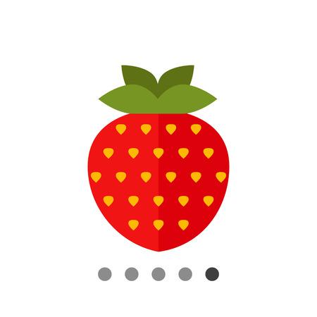 ripe: Vector icon of single ripe fresh strawberry