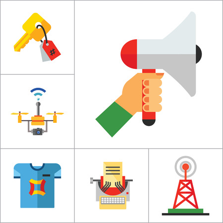 keywording: Advertising Icon Set. Tablet PC Smartwatch VR Gaming Viral Marketing Promotion Email Marketing Direct Message Billboard Advertising Broadcast Copywriting Custom Printing Surveillance Drone Keywording