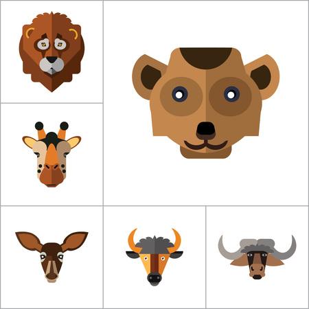 Animal Faces Icon Set. Lion Head Zebra Head Hippo Head Giraffe Head Lion Face Wolf Head Elephant Head Antelope Head Meerkat Head Doe Head Ox Face Red Lynx Head Bull Head