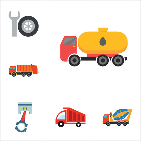 thirteen: Automotive icons set with car wheel, crane truck and fork lift truck. Thirteen vector icons