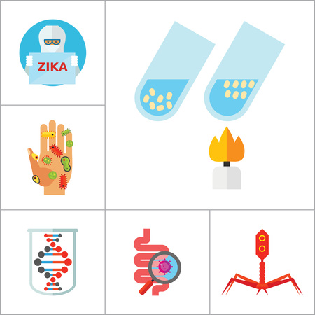 petri: Bacteria icons set with biohazard sign, genome and bacteria in Petri dish. Thirteen vector icons