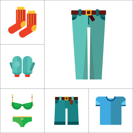 Clothes Icon Set. T-shirt Socks Mittens Male Underpants Rain Poncho Female Underwear Denim Shorts Jeans Jacket Coat Green Clothing Item Waistcoat