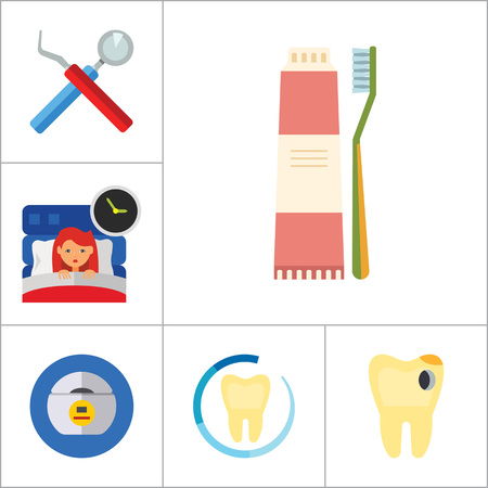 brace: Dental Icon Set. Toothache Tooth Implant Dental Floss Interdental Brush Caries Braces Dental Care Insomnia Healthy Tooth Stomatology Tooth Brush Toothpaste