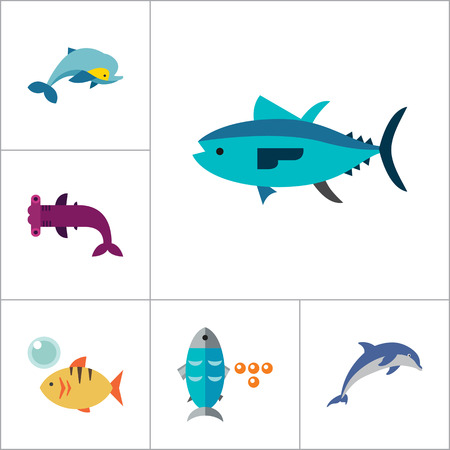 shoal: Fish Icon Set. Pieces Octopus Dolphin Shark Catfish Canned Fish Tuna Fish Shoal Caviar Hammerhead Fish Sea Skate Goldfish