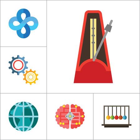 pendulum: Mathematics Icon Set. Gear Wheel Drawing Metronome With Pendulum Collision Balls Globe Cubes Diagram Philosophy Symbol Logic Concept Algebra Cable Artificial Intelligence Gravity Force Illustration