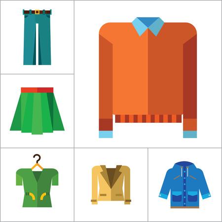 raincoat: Modern Clothes Icon Set. T-shirt Jeans Bow Tie Hoody Sweatshirt Trousers Pleated Skirt Orange Sweater Coat Beige Jacket Polo Shirt Blue Raincoat Green Jacket Clothes On Hanger