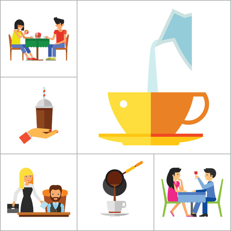 rich people: People And Coffee Icon Set. Hand With Coffee Takeaway Coffee Cup Rich Person Director Dinner Coffee On Napkin Coffee And Hands Pouring Milk Press Coffee Pot Waitress Drinking Coffee Pouring Coffee
