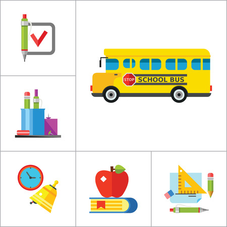 uomo vitruviano: School Icon Set. School Pencil School Bus Pencil Stand Stationery Math Formula Knowledge Vitruvian Man Professor Lesson School Board Teacher Students Vettoriali