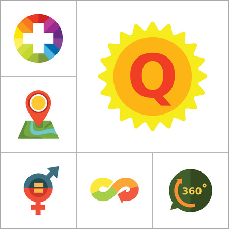 thirteen: Sign icons set with question mark in speech bubble, map pointer and quality label. Thirteen vector icons