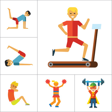 thirteen: Sportsman vector icons set. Thirteen icons of running man, rock climber, bodybuilder and other sportsmen Illustration