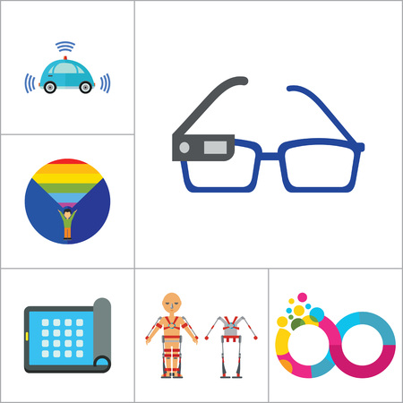exoskeleton: Technology Of Future Icon Set. Virtual Glasses Exoskeleton Flexible Display Pressing Button VR Gaming Smartwatch Augmented Reality Self-driving Car Virtual Reality On Coming Out Hologram