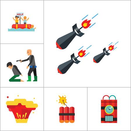 kamikaze: Terrorism Icon Set. Kamikaze Fire Cocktail Dynamite Army Tags Hostage Bomb With Timer Machine Gun Missiles Explosion Refugees Terrorist Shooting Target War Illustration