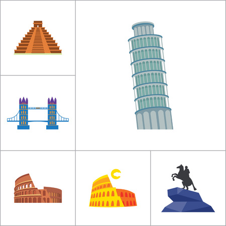 thirteen: Tourist attraction icons set. Thirteen vector icons of Eiffel Tower, Big Ben, Pyramids and other tourist attractions Illustration
