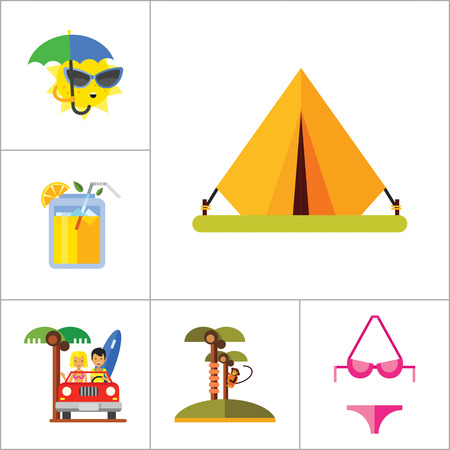 hot couple: Vacation Icon Set. Picnic Basket Summer Shoes Bikini Tent Sun With Umbrella Sunglasses Womans Summer Hat Mans Hat Summer Drink Woman In Cabriolet Coconut Palms With Monkey Beach Couple In Cabriolet