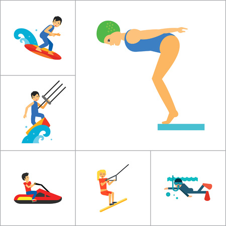 water polo: Water Sport Icon Set. Waterskiing Water Jumping Diving Water Polo Windsurfing Swimming Surfing Kayaking Sailing Ship Jet Skiing Kite Surfing River Adventure Boat With Oars