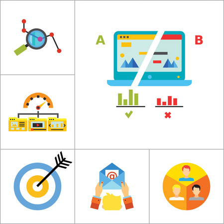targeting: Marketing Icon Set. Targeting Users Split Test E-mail Marketing Brand Identity Marketing Analysis Social Media Marketing Processing SEO Target Hands With Smartphones Product Placement