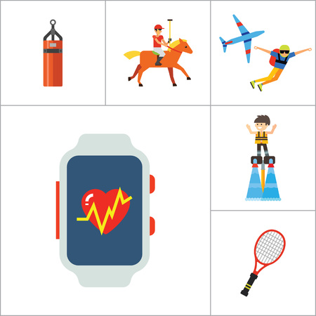 biking glove: Active Sport Icon Set. Volleyball Tennis Racket Punchbag Horseracing Parachute Jump Flyboard Smartwatch Bicycle Helmet Boxing Gloves Canoeing Rollerblading Jet Skiing