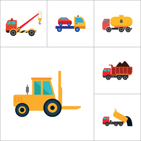 tripping: Automotive icons set with car wheel, crane truck and fork lift truck. Thirteen vector icons
