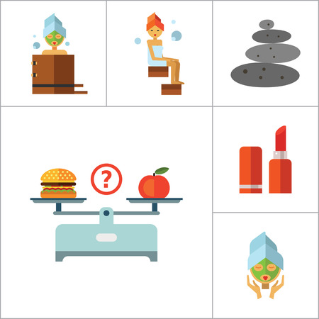 hairdress: Beauty Icon Set. Woman With Curls Diet Concept Aroma Lamp Face Cream Fish Peeling Products On Scales Lipstick Sponge Stone Therapy Perfume Woman With Mudpack On Face Woman In Bath Woman In Steamroom Illustration