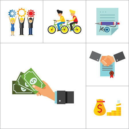 signing contract: Business Icon Set. Head Hunting Money Team Workforce Signing Contract Personal Connection Cash Business Data Budget Analysis Business Style Report Illustration