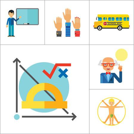 uomo vitruviano: School Icon Set. Matita della scuola Scuolabus matita stand studenti cancelleria Math Formula Conoscenza Uomo Vitruviano Professor Lezione School Board Teacher