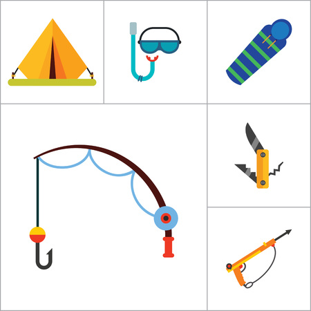 sleeping bags: Fishing Icon Set. Summer Fishing Canned Fish Flippers Diving Mask And Snorkel Beach Camping Tent Campfire Fishing Rod Sleeping Bag Pocket Knife Compass Camping Pot