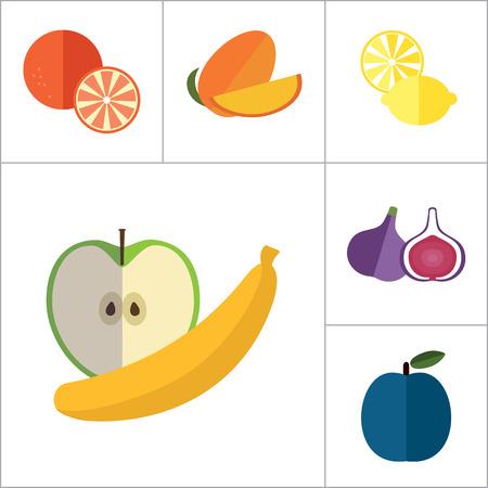 Fruit Icon Set. Lemon Apple et Banana orange Melon Mango Cut Carambole Cut Fig Ripe Plum Goyave Fruit Abricot Pomme Oiseau Cerise Fruit de la passion