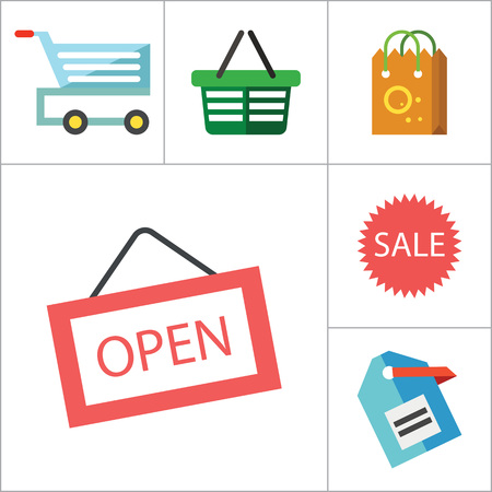 thirteen: Shopping icons set with sale sign, shopping bag and cash register. Thirteen vector icons Illustration