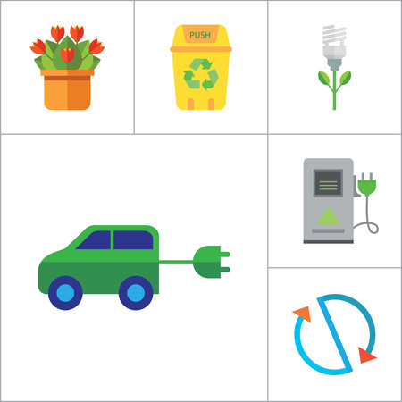 flower lamp: Eco Icon Set. Electrocart Flowers Electrocar Carbon Dioxide Cycle CO2 In Cloud Eco-friendly Lightbulb Circulation Sign Electric Plug Flower Lamp Flower Environmental Protection Eco Energy Recycle Bin