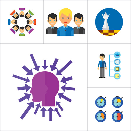 cohesion: Strategy Icon Set. Team Structure Common Idea Director Executive Manager Rich Person Team Time Management Challenge Boss Scales Strategic Management Vision Team Leader Illustration