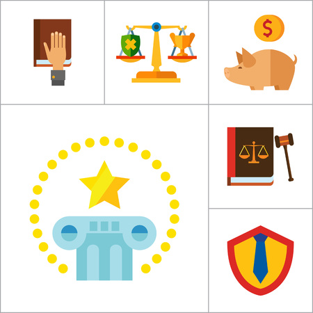 civil rights: Law Icon Set. Copyright Hand With Gavel Scales Law Concept Scales With Cup And Shield Corruption Civil Rights Business Law Piggy Bank Lawyer Sign Law Shield Justice Patenting Illustration