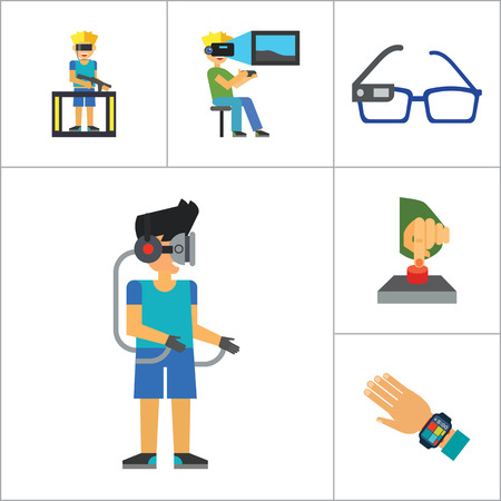 inventing: Technology Of Future Icon Set. Virtual Glasses Exoskeleton Flexible Display Pressing Button VR Gaming Smartwatch Augmented Reality Self-driving Car Virtual Reality On Coming Out Hologram