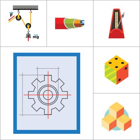 philosophy of logic: Mathematics Icon Set. Gear Wheel Drawing Metronome With Pendulum Collision Balls Globe Cubes Diagram Philosophy Symbol Logic Concept Algebra Cable Artificial Intelligence Gravity Force Illustration