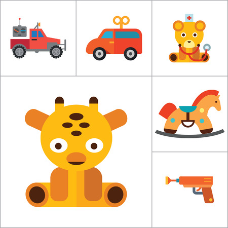 thirteen: Toys icons set with Rubics cube, whirligig and elephant toy. Thirteen vector icons