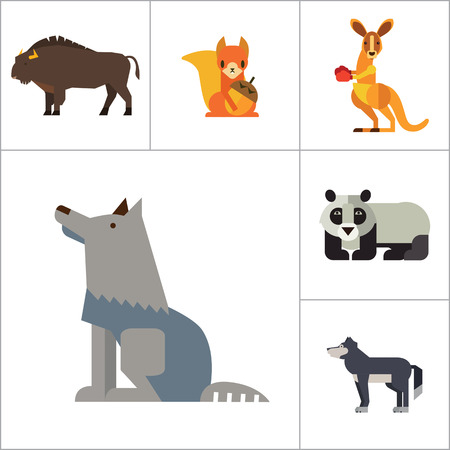 brown hare: Wild Animals Icon Set. Bear Paw Trace Koala Hare Lynx Fox Squirrel Panda Squirrel With Nut Kangaroo Wolf Wisent
