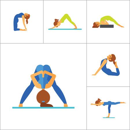 yogi: Yoga Icon Set. Meditation Rajakapotasana Sarvangasana Halasana Ustrasana Astavakasana Bakasana Handstand Virabhadrasana Svanasana Prasarita