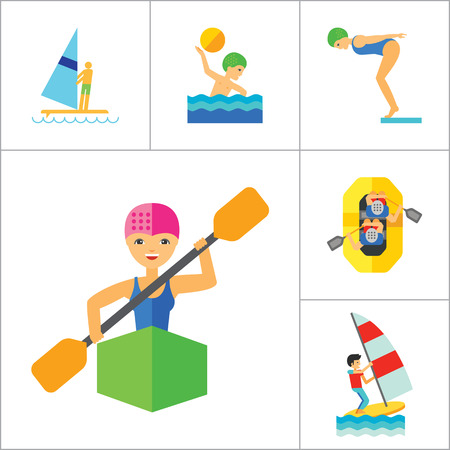 waterskiing: Water Sport Icon Set. Waterskiing Water Jumping Diving Water Polo Windsurfing Swimming Surfing Kayaking Sailing Ship Jet Skiing Kite Surfing River Adventure Boat With Oars