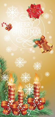Merry Christmas lettering in circle. Christmas greeting card with fir tree branch, poinsettia, snowflakes, candy cane and lit candles. Typed text. For greeting cards, posters, leaflets and brochures.