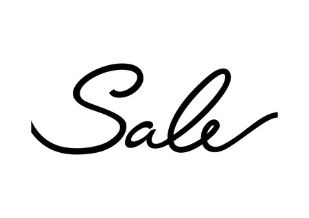 Sale calligraphic lettering. Black sale inscription on white background. Handwritten text can be used for posters, banners, fliers