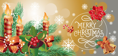 typed: Merry Christmas lettering in circle. Christmas greeting card with fir tree branch, mistletoe, poinsettia, snowflakes and lit candles. Typed text. For greeting cards, posters, leaflets and brochures.