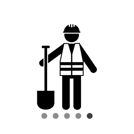 Worker in safety vest with spade. Road, asphalt, digging. Roadwork concept. Can be used for topics like road building, construction, business. Stock Illustratie