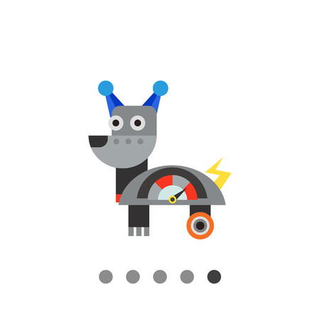 funny robot: Robot dog with wheels and meter. Funny, metal, intelligence. Robot concept. Can be used for topics like technology, electronics, mechanics.