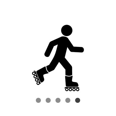 rollerblading: Roller skating man. Fun, recreation, skill. Roller skating concept. Can be used for topics like sport, lifestyle, rollerskating. Illustration