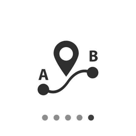 Icon of route from point A to point B with map pointer sign