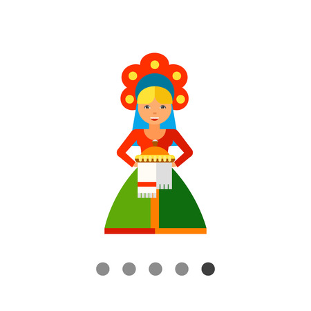 offering: Multicolored vector icon of Russian Welcome represented by Slav woman wearing national clothing and offering bread and salt